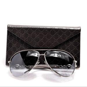 Gucci Crystal Marina Chain Aviator Sunglasses